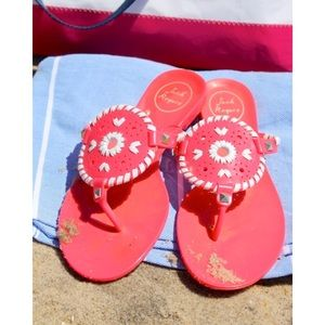 Jack Rogers Georgica Jelly Bright Hot Pink Sandals